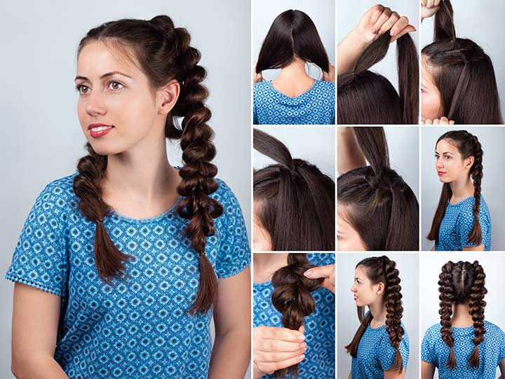 13. French bubble pigtails