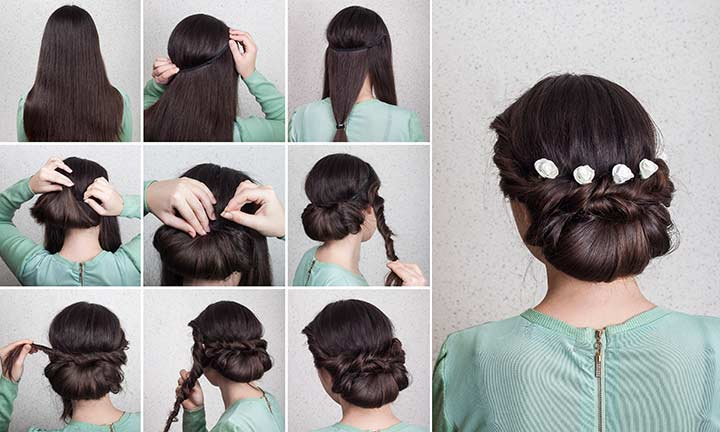 18. Twisty Dutch braided bun