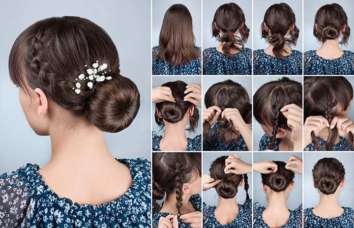 19. Side braids and a bun