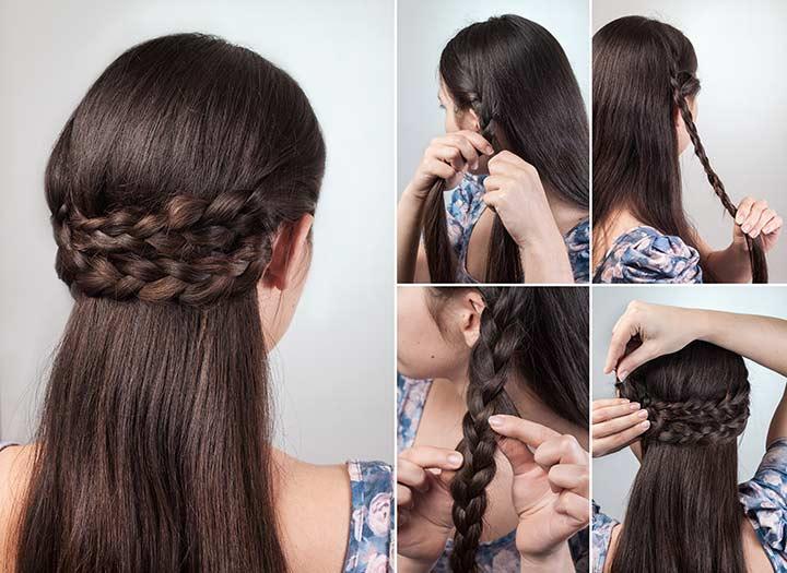 2. Semi milkmaid braids