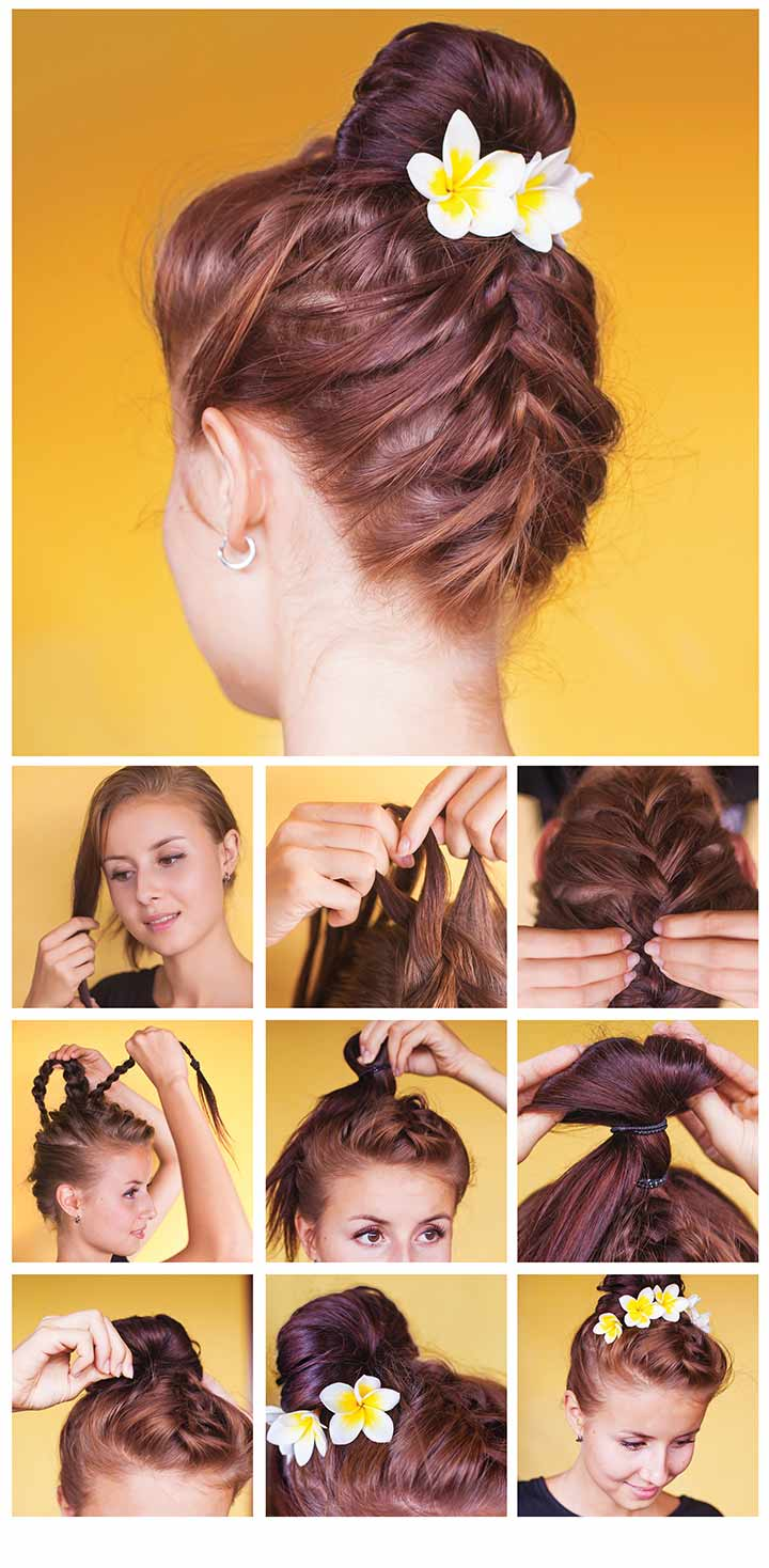 21. Two-way braided top bun