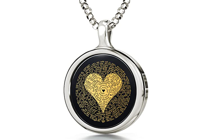 24K Gold Inscribed I Love You Pendant From Nano Jewelry