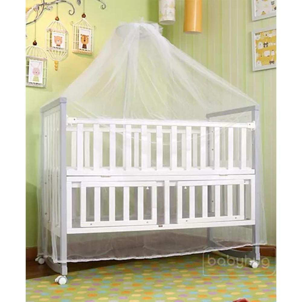 Babyhug Chester 3 in 1 Rocking Cot Cum Junior Bed With Mattress