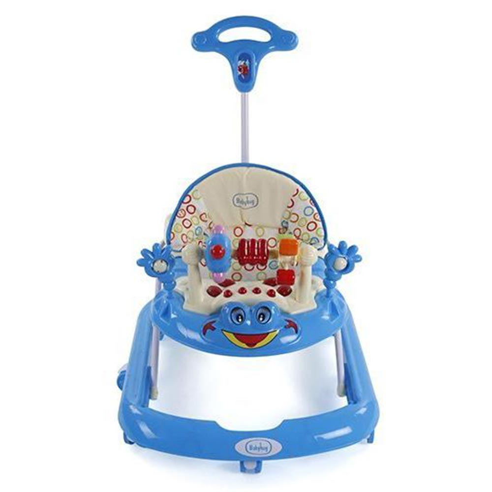 Babyhug First Walk Musical Walker With Parent Push Handle Safety Stopper & 4 Level Height Adjustment - Blue