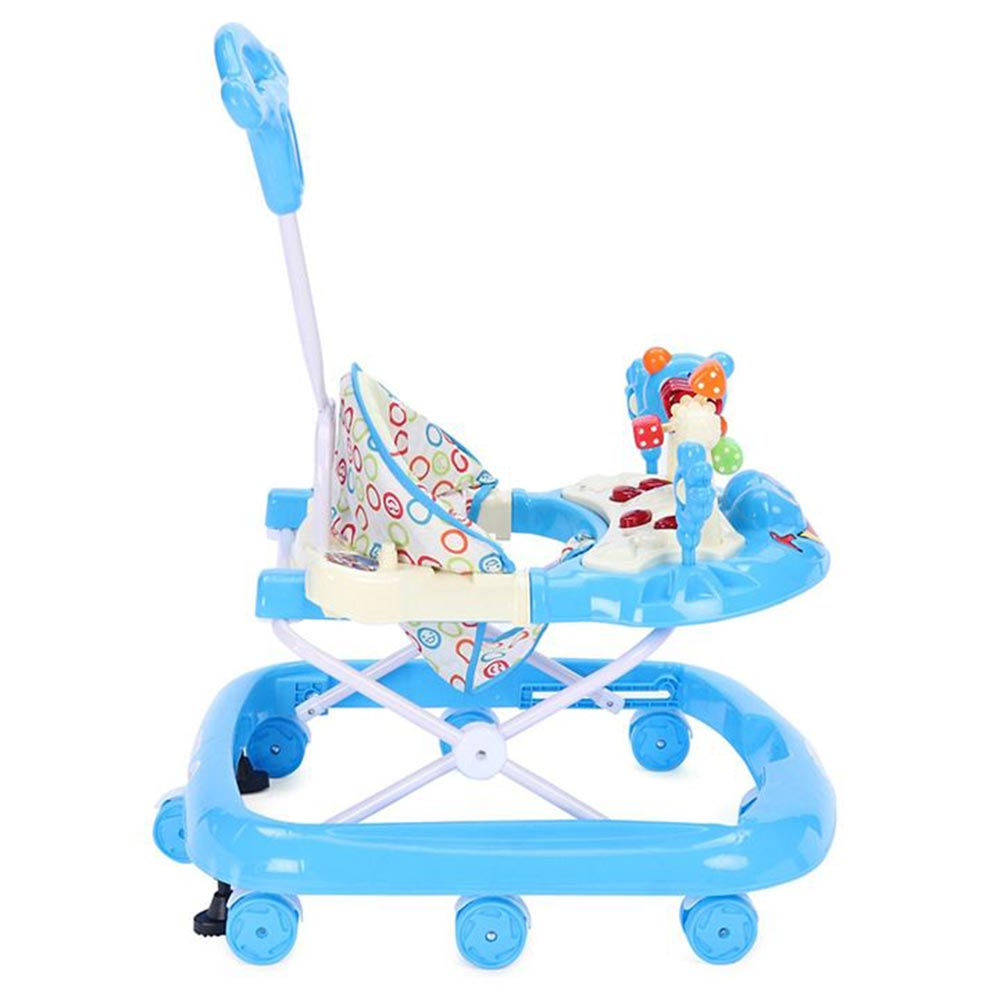Babyhug First Walk Musical Walker With Parent Push Handle Safety Stopper & 4 Level Height Adjustment - Blue-2