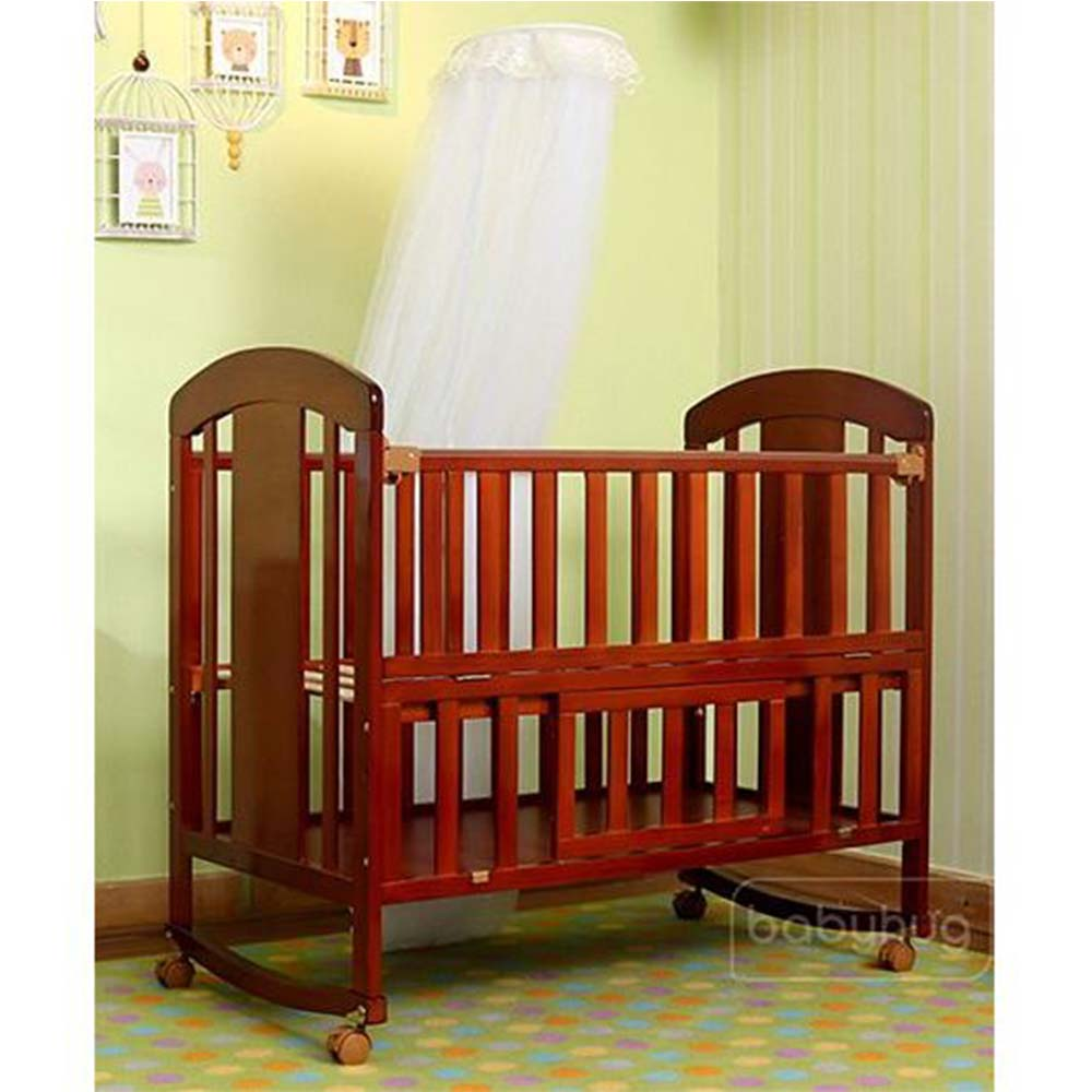Babyhug Florence Wooden Cot Cum Rocker With Storage Space