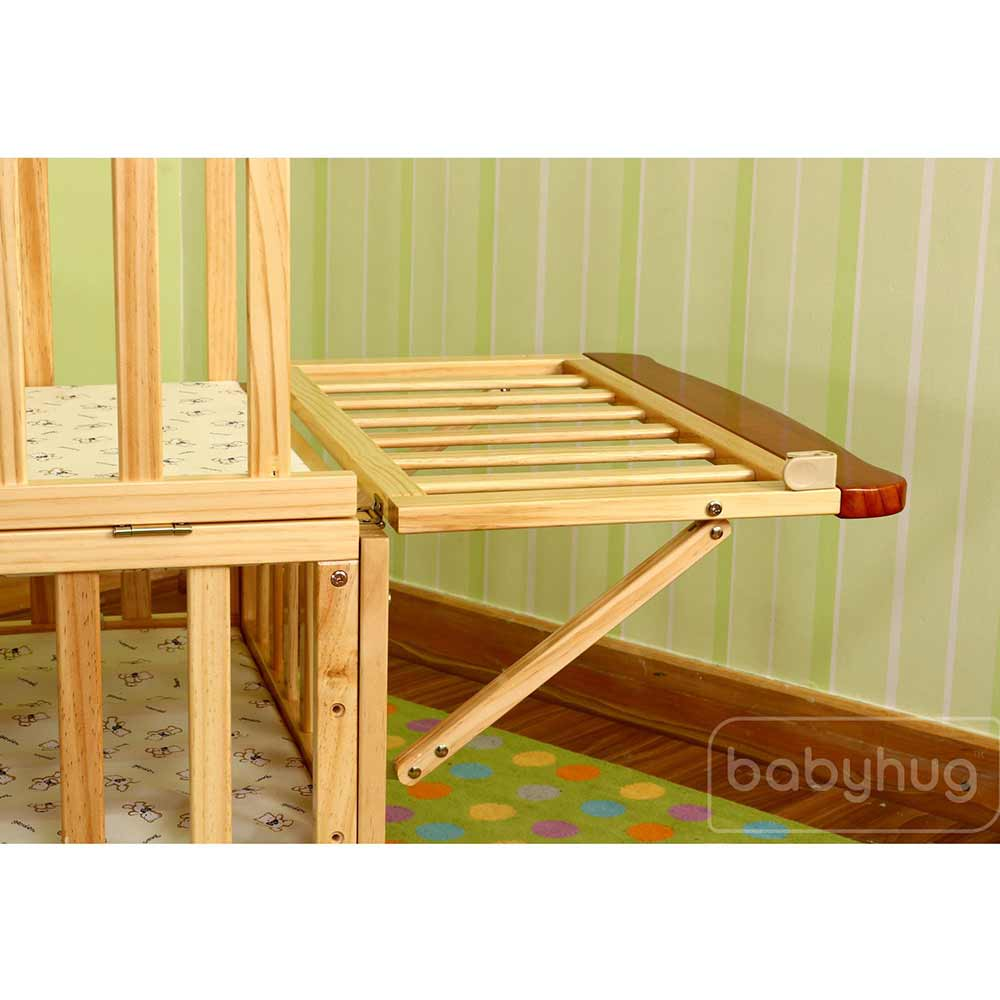 Babyhug Hamilton Wooden Cot With Mosquito Net & Storage Space