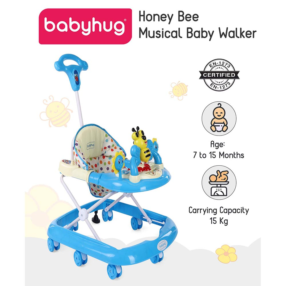Babyhug Honey Bee Musical Walker With Parent Push Handle & 4 Level Height Adjustment - Blue
