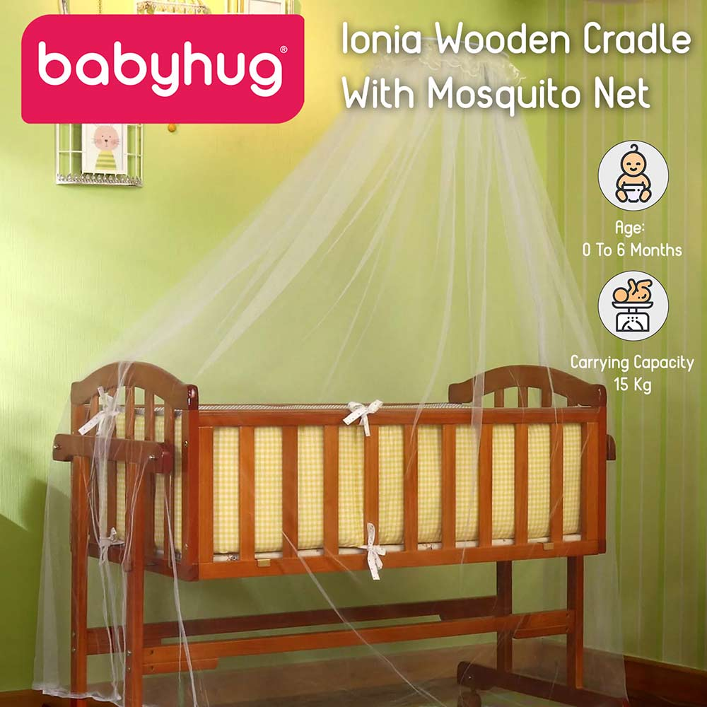 Babyhug Ionia wooden cradle with mosquito net