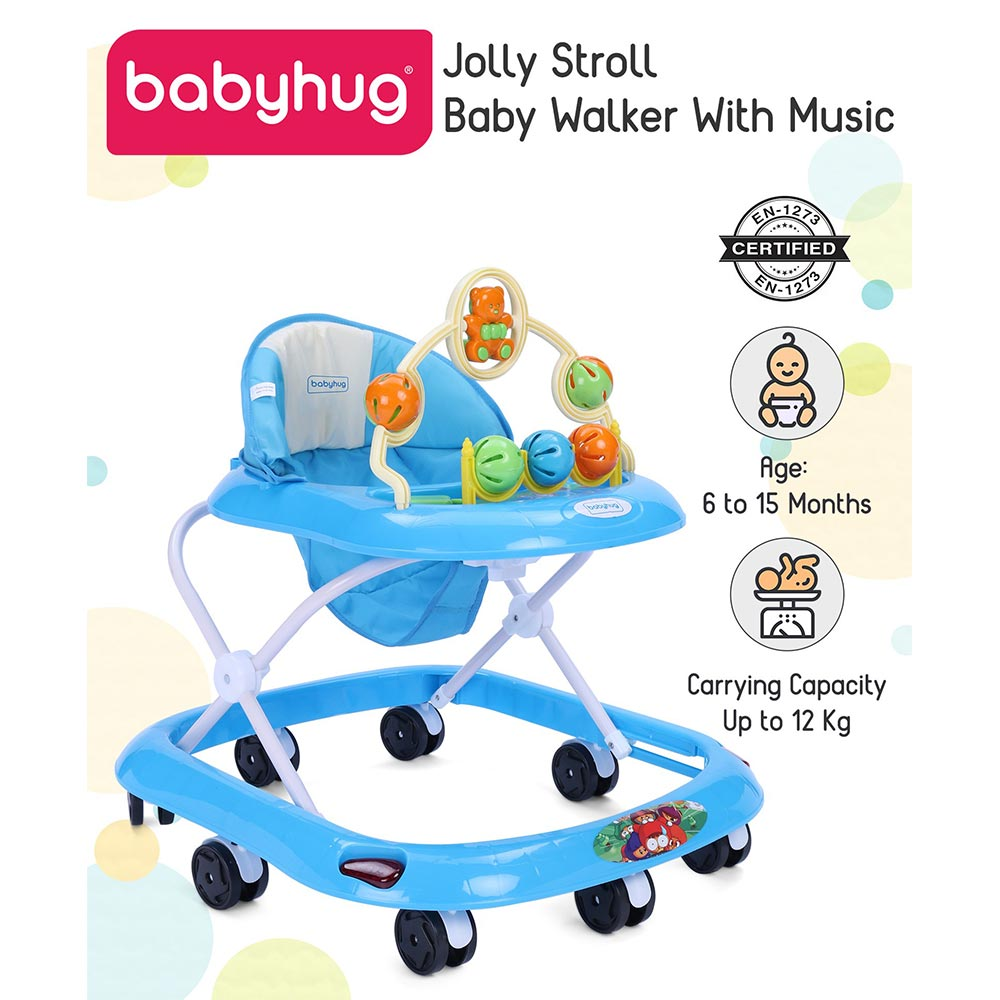 Babyhug Jolly Stroll Musical Walker With 4 Level Height Adjustment - Blue