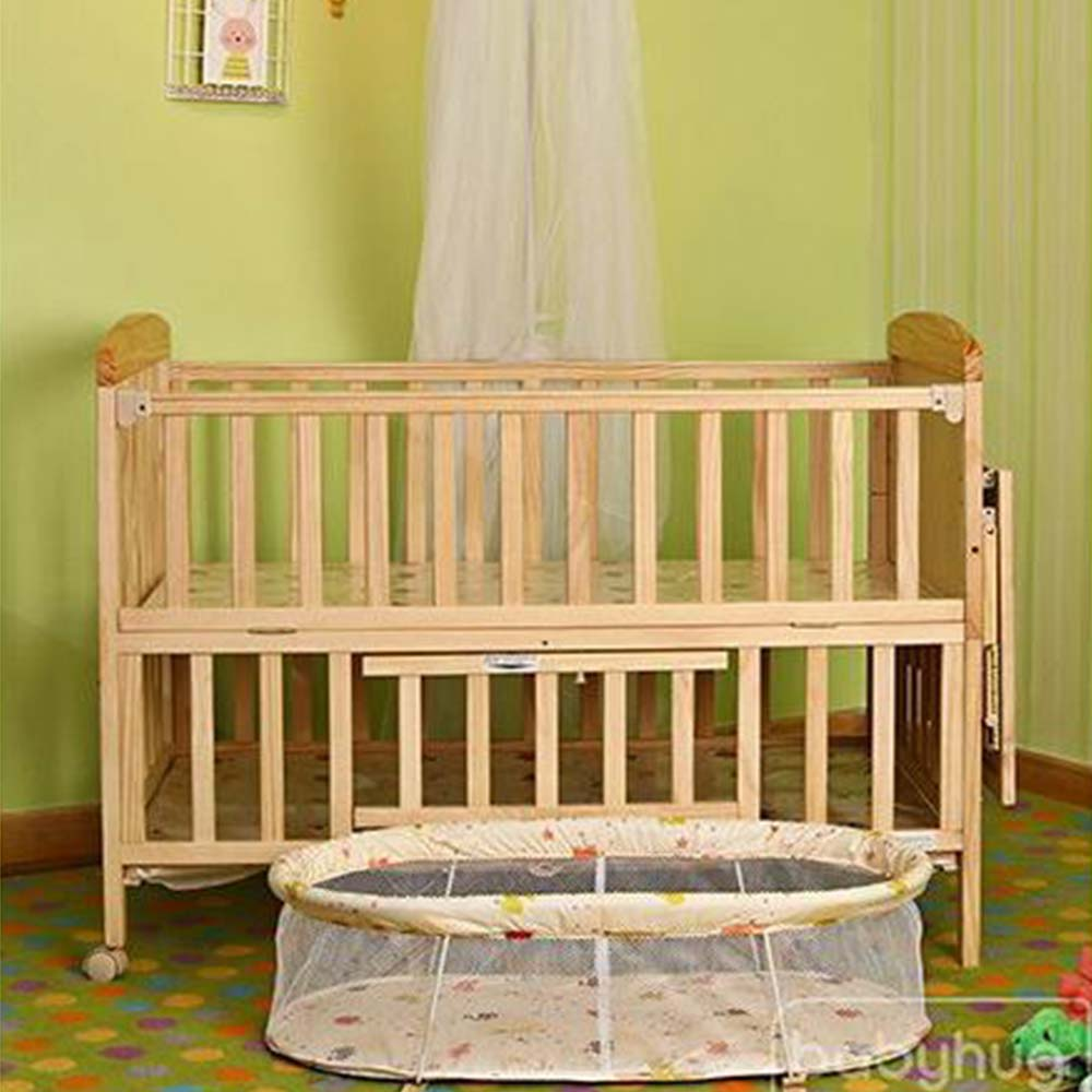 Babyhug Kelly Wooden Cot With Detachable Bassinet & Mosquito Net