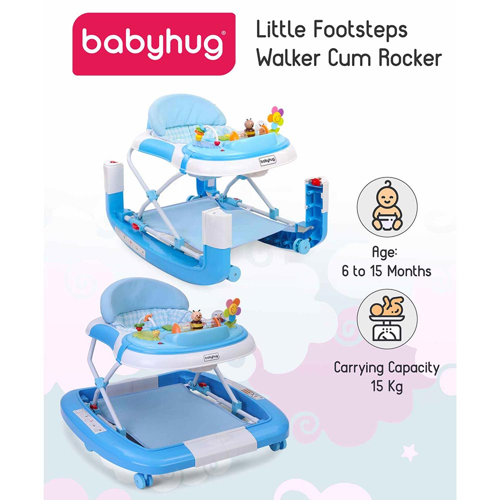 Babyhug Little Footsteps Walker Cum Rocker With 2 Level Height Adjustment