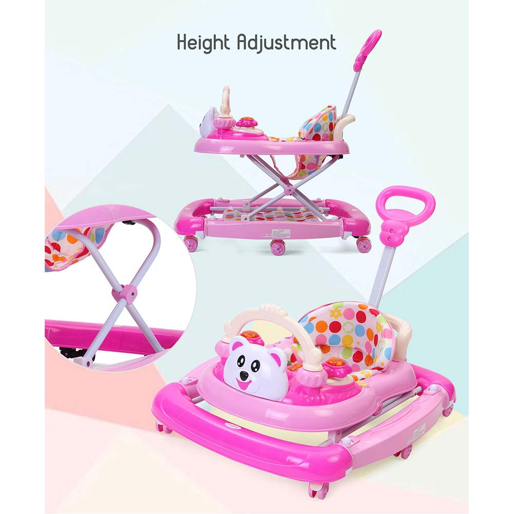 Babyhug Mini Steps Walker Cum Rocker With Parent Push Handle & 2 Level Height Adjustment - Pink Cream
