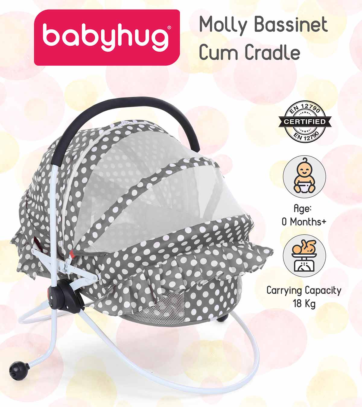 Babyhug Molly Rocking Bassinet Cum Cradle With Storage Space