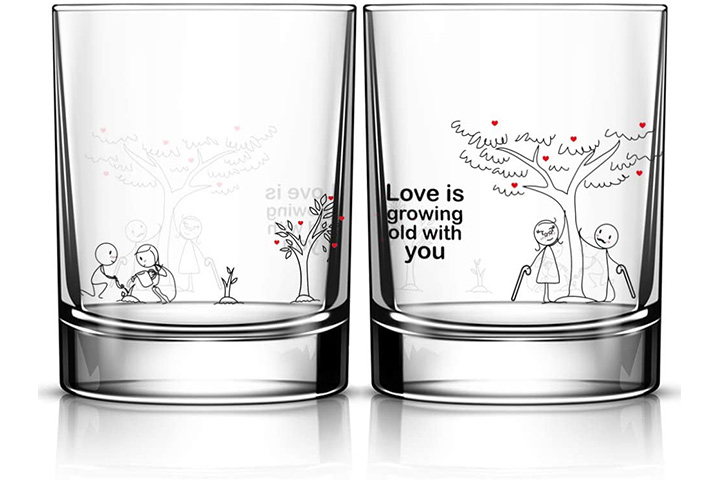 BoldLoft His And Hers Wedding Anniversary Drinking Glasses