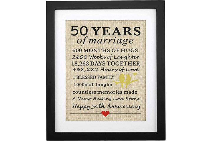 Corfara 50th Wedding Anniversary Framed Burlap