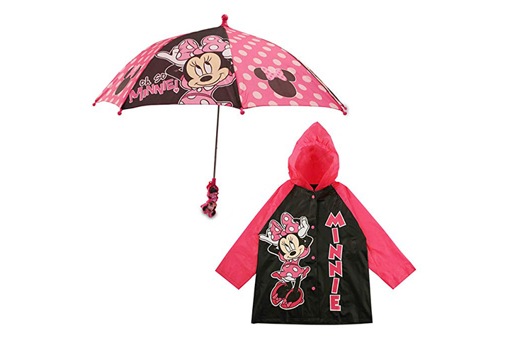 Disney characters umbrella and raincoat set