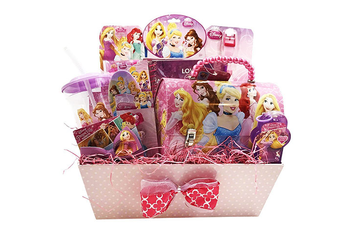 Disney princess themed gift basket