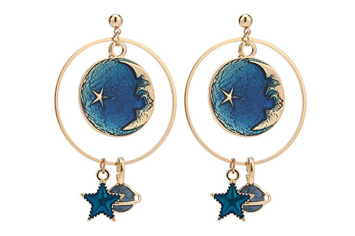 Moon star and earth drop hoops by Sunscsc