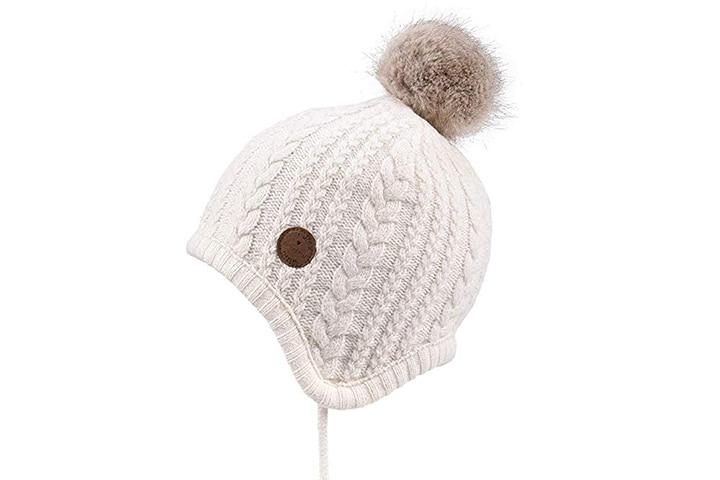 SOMALER Winter Ear Flap Pom Pom Knit Hats