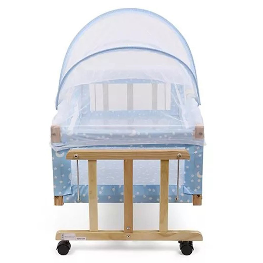 Star Print Wooden Cradle With Mosquito Net-1