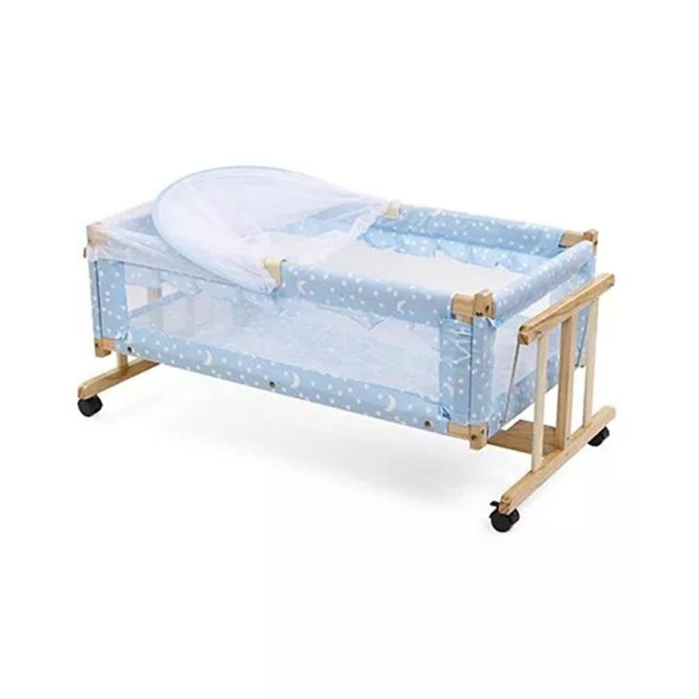 Star Print Wooden Cradle With Mosquito Net-2