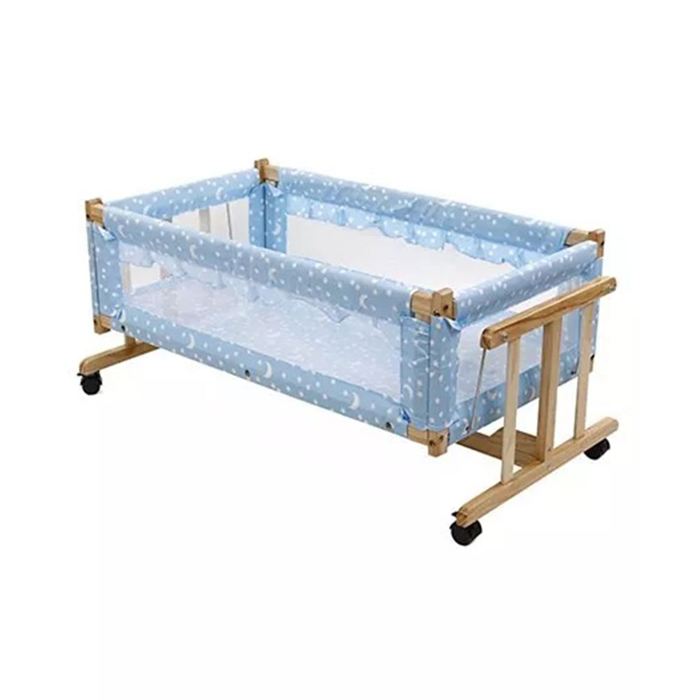 Star Print Wooden Cradle With Mosquito Net-3