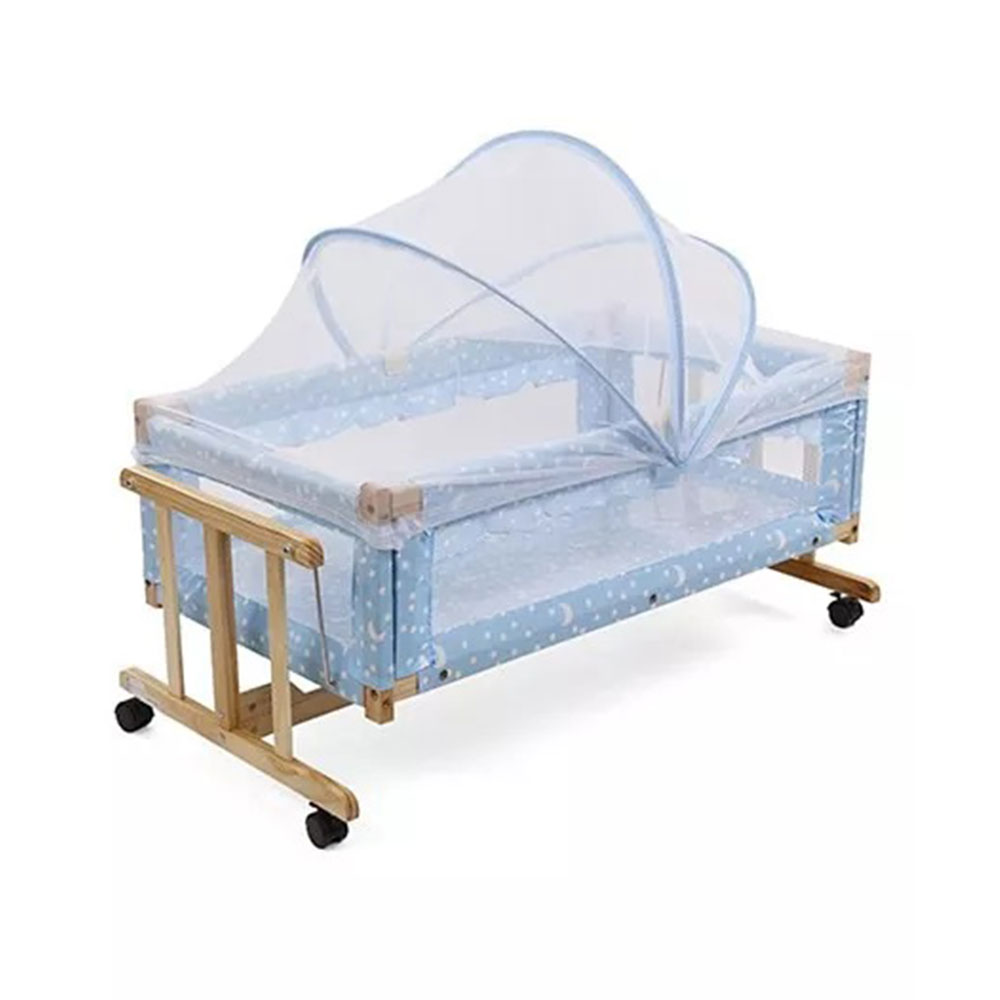 Star Print Wooden Cradle With Mosquito Net-0