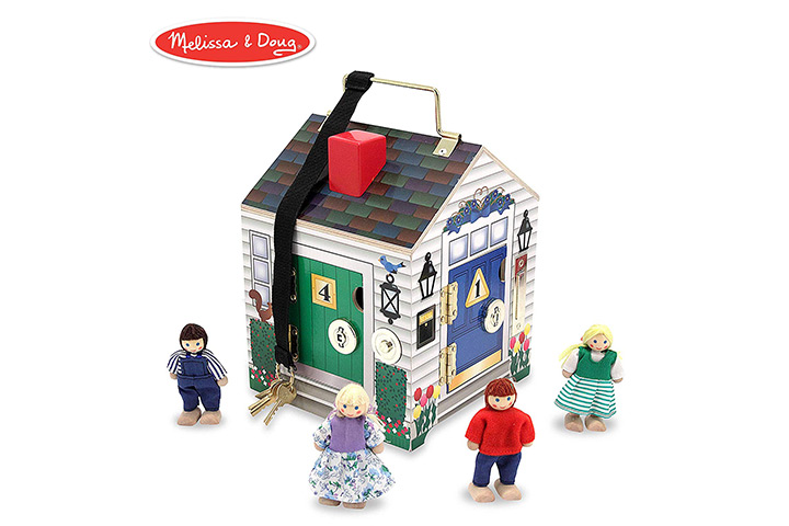 Wooden doorbell dollhouse