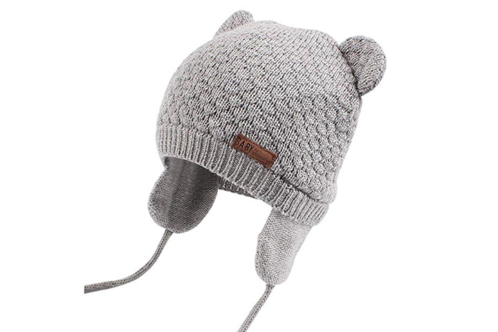 Baby Hats for Boys Girls Cute Bear Knit Beanie Cap with Ear Flaps Pink Gifort Baby Winter Hat and Gloves Soft Warm Baby Hat and Mittens Set for Unisex Newborn Todders 1-3 Years Gift