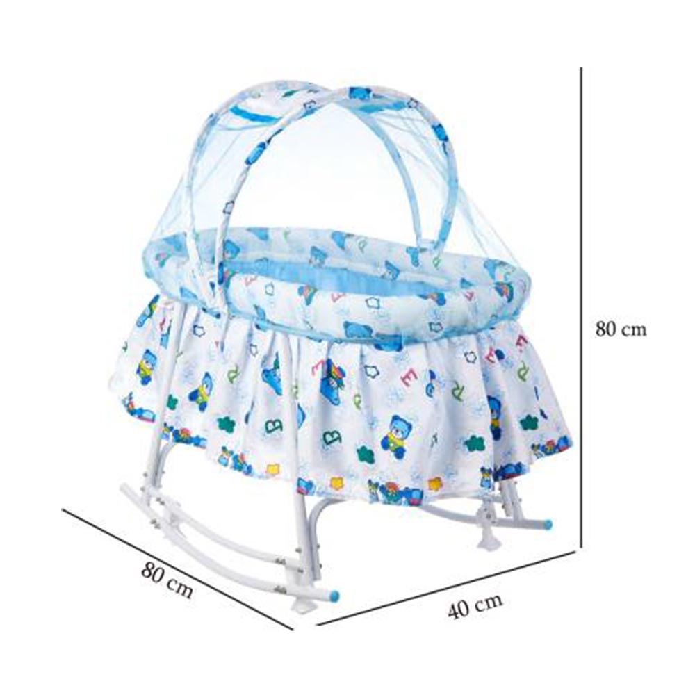 funBaby Cozy Cradle With Mosquito Net & Rocking Base-1