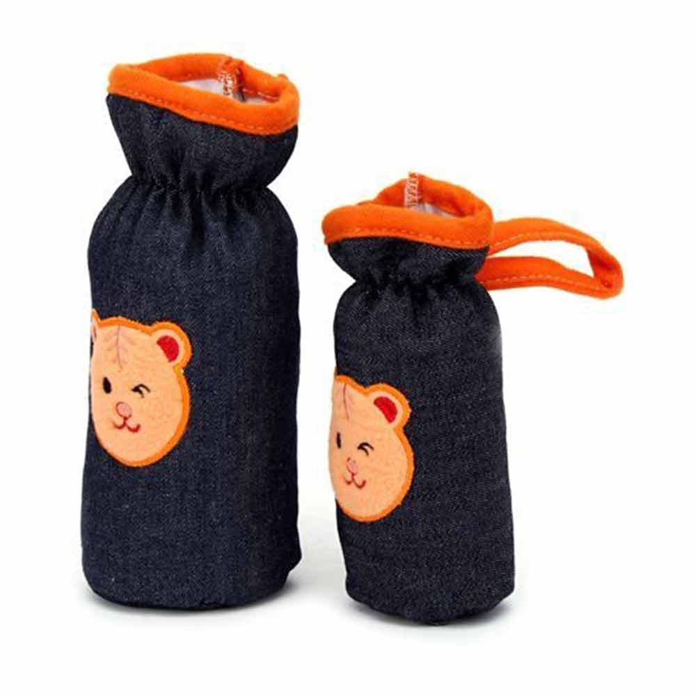 Babyhug Bottle Cover Denim Bear Face Motif Set