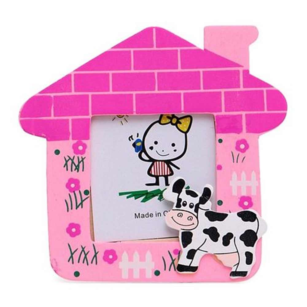 Cow Motif Wooden Photo Frame House Shape