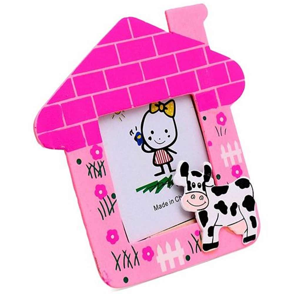 Cow Motif Wooden Photo Frame House Shape-1