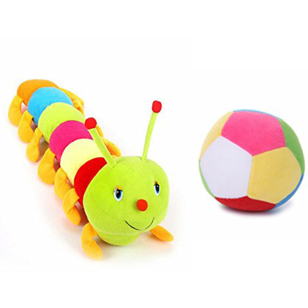 Deals India Colorful Caterpillar And Ball Soft Toy Combo