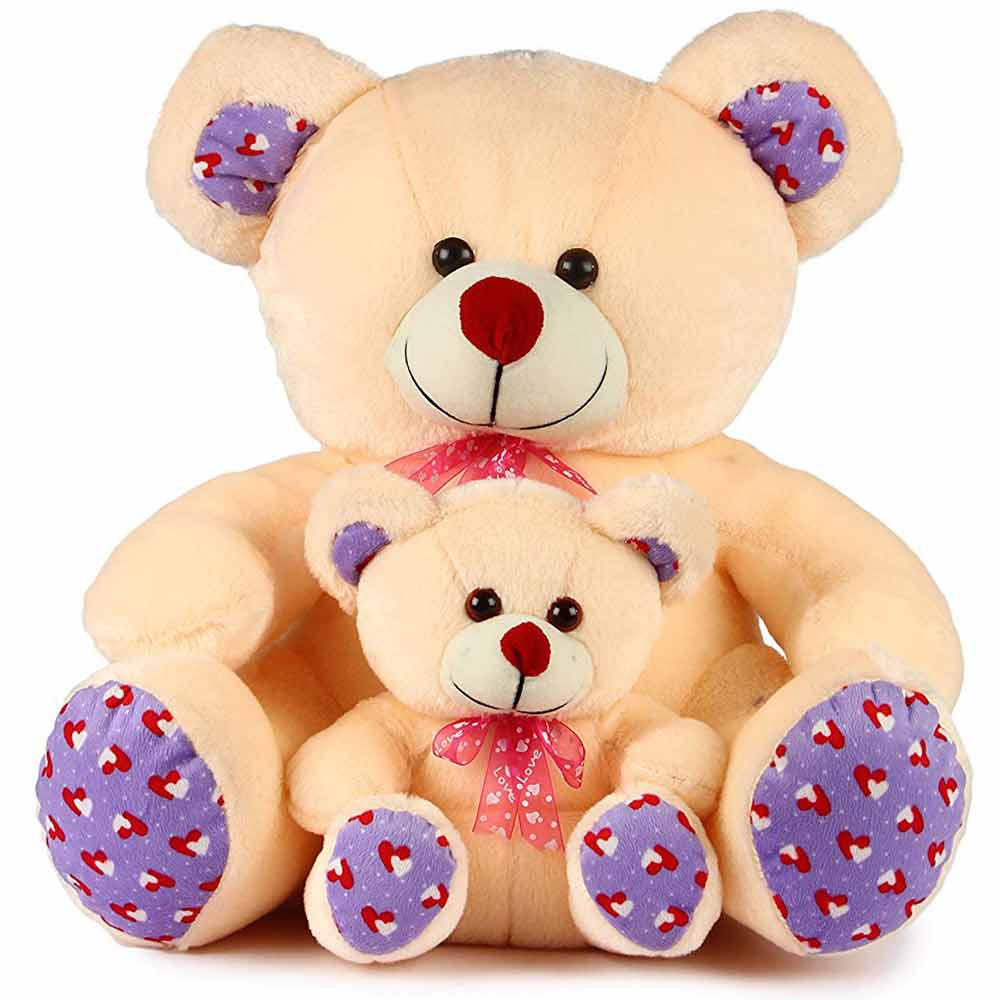 Deals India Cream Mother Baby Teddy