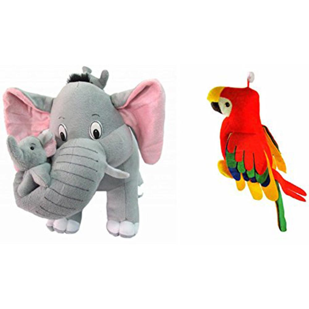 Deals India Mother Elephant With 2 Babies & Parrot Soft Toy