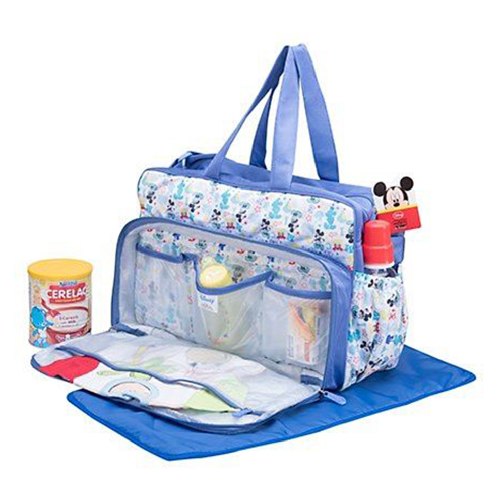 Disney Mickey Mouse Design Diaper Bag With Changing Mat-4