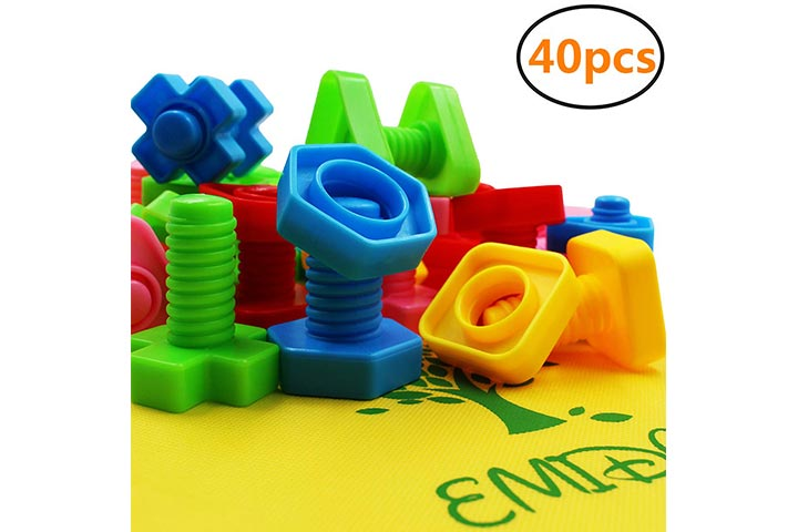 EMIDO 40 Pieces Jumbo Nuts Bolts Toy