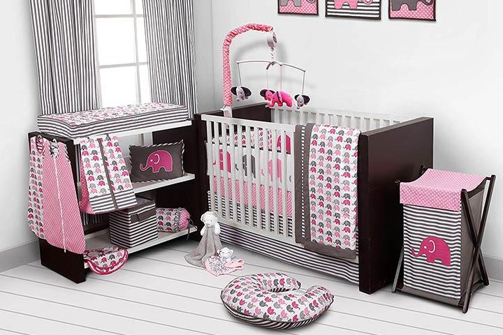 Elephants PinkGrey 10 Piece Crib Set