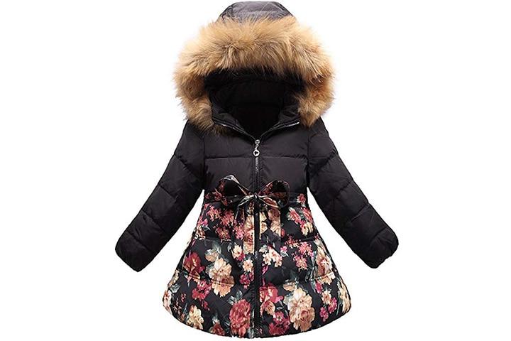 Flower Print Bowknot Winter Coat