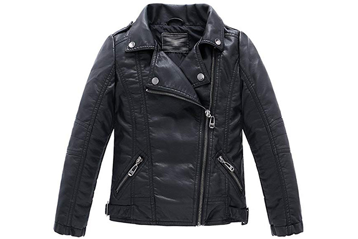 LJYH Boy Faux Leather Motorcycle Jacket