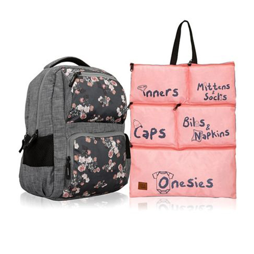 Lost & Found Floral Printed Diaper Backpack With Organiser Pouch
