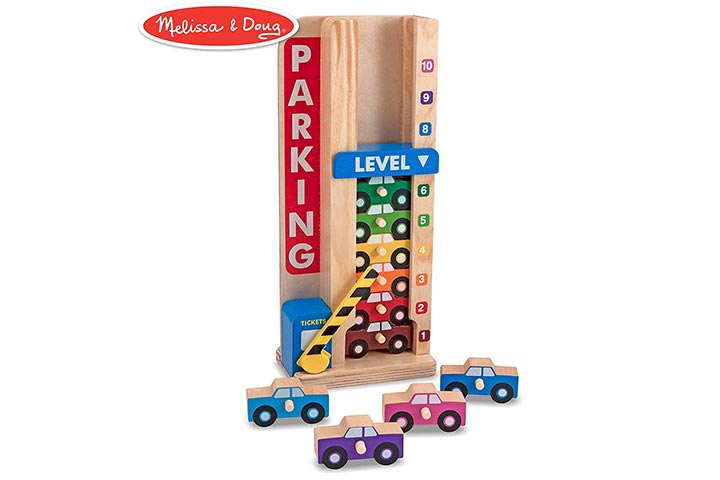 Melissa & Doug Stack & Count Wooden Parking Garage