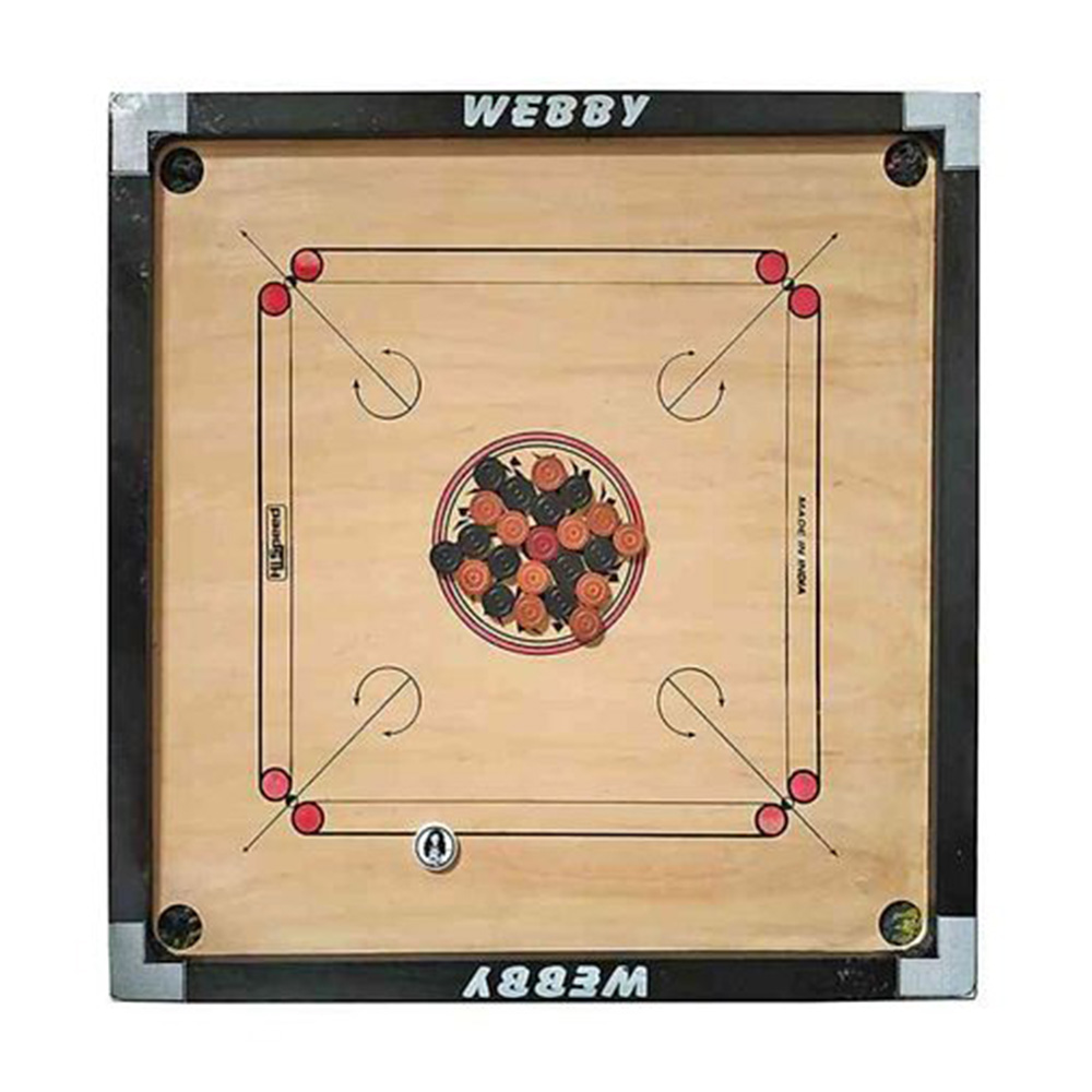 Webby Wooden Carrom Board Brown Beige