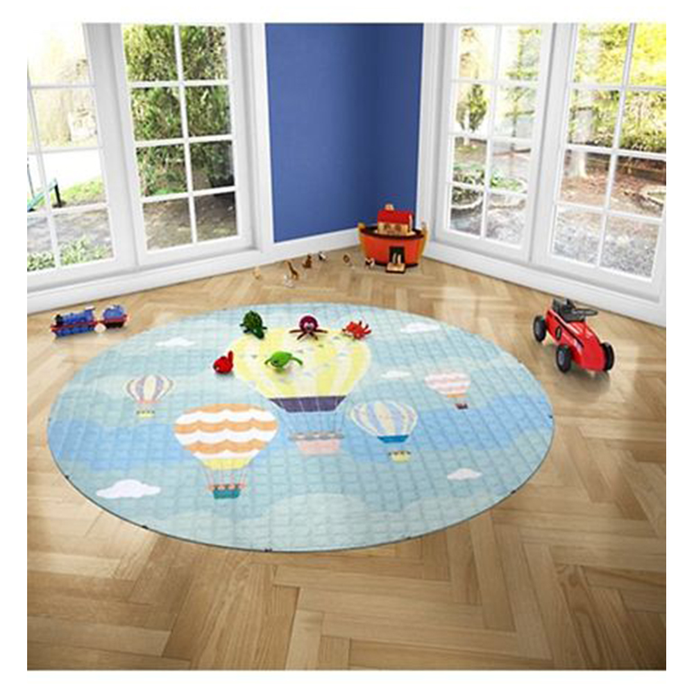 Nee & Wee Cotton Playmat Cum Drawstring Toy Storage Air Balloon Print-3