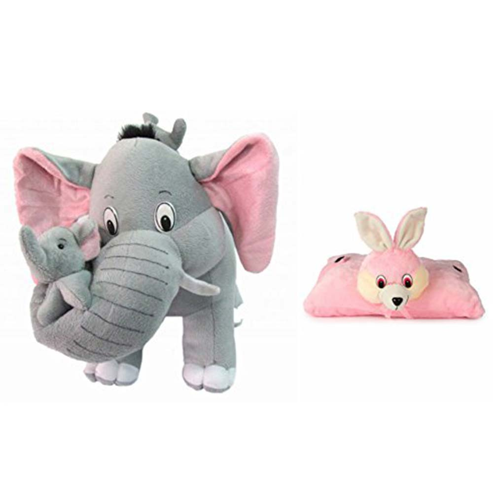 Deals India Mother Elephant With 2 Babies Soft Toy & Bunny Pillow