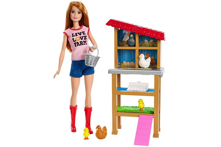 15. Barbie Chicken Farmer Doll & Playset