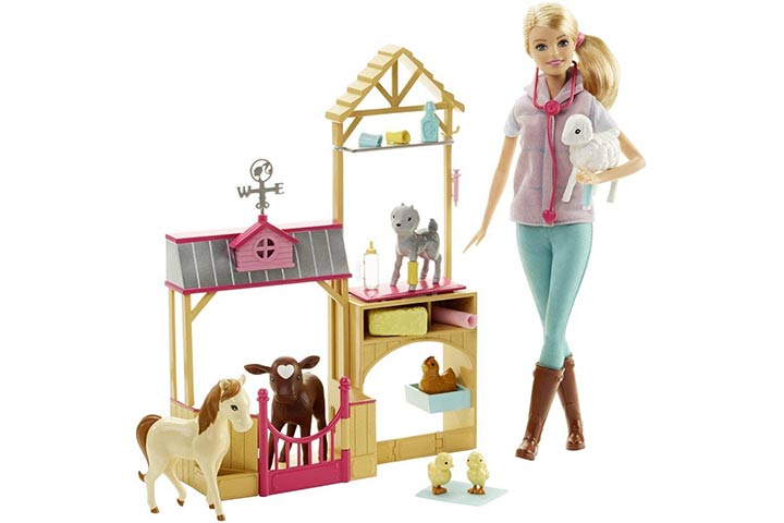 17. Barbie Careers Farm Vet Doll & Playset