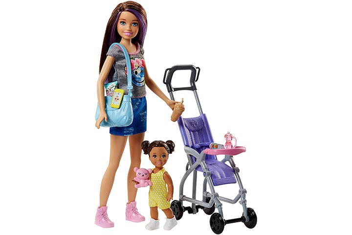 19. Barbie Skipper Babysitters Inc. Doll and Stroller Playset